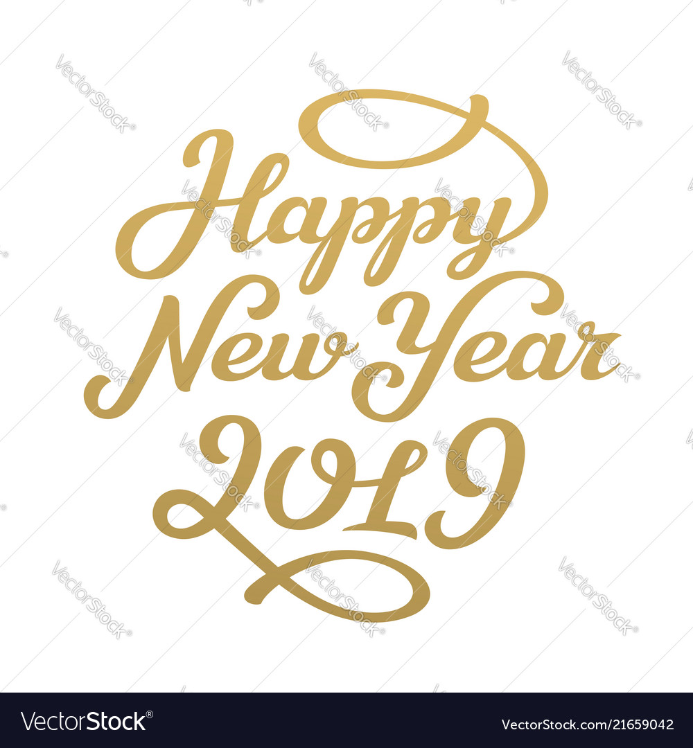 Happy new year 2019 lettering greeting card design happy new year 2019 lettering greeting card design vector image m4hsunfo