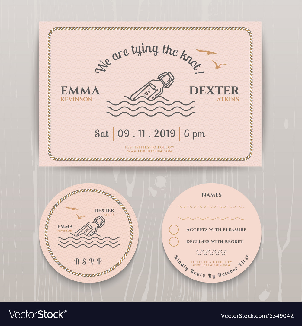 Nautical Message In The Bottle Wedding Invitation