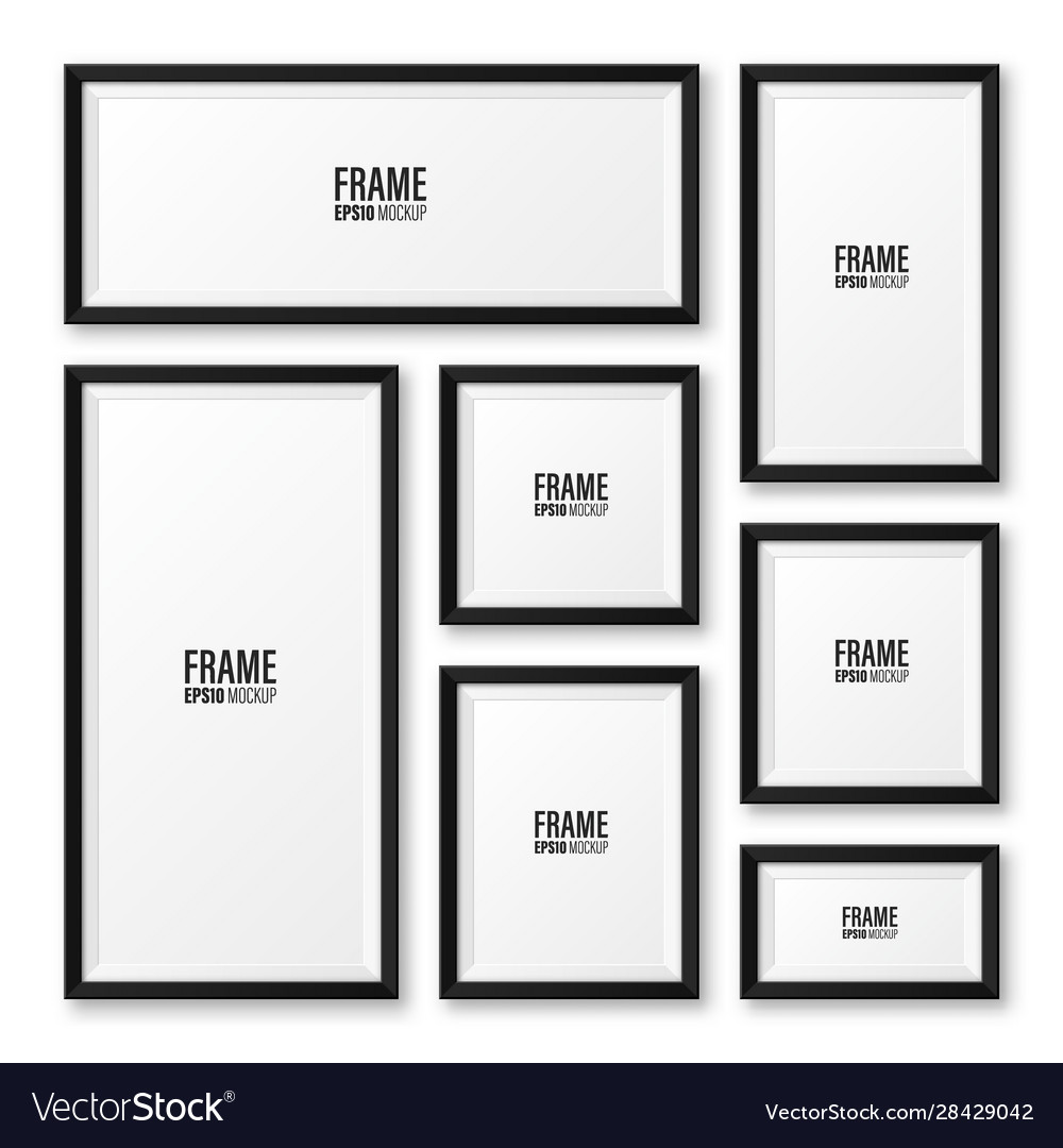 Realistic blank black picture frame with shadow