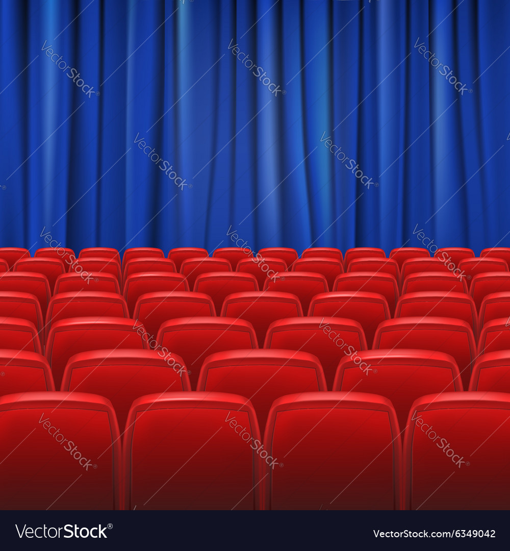 Red seats in hall with curtain