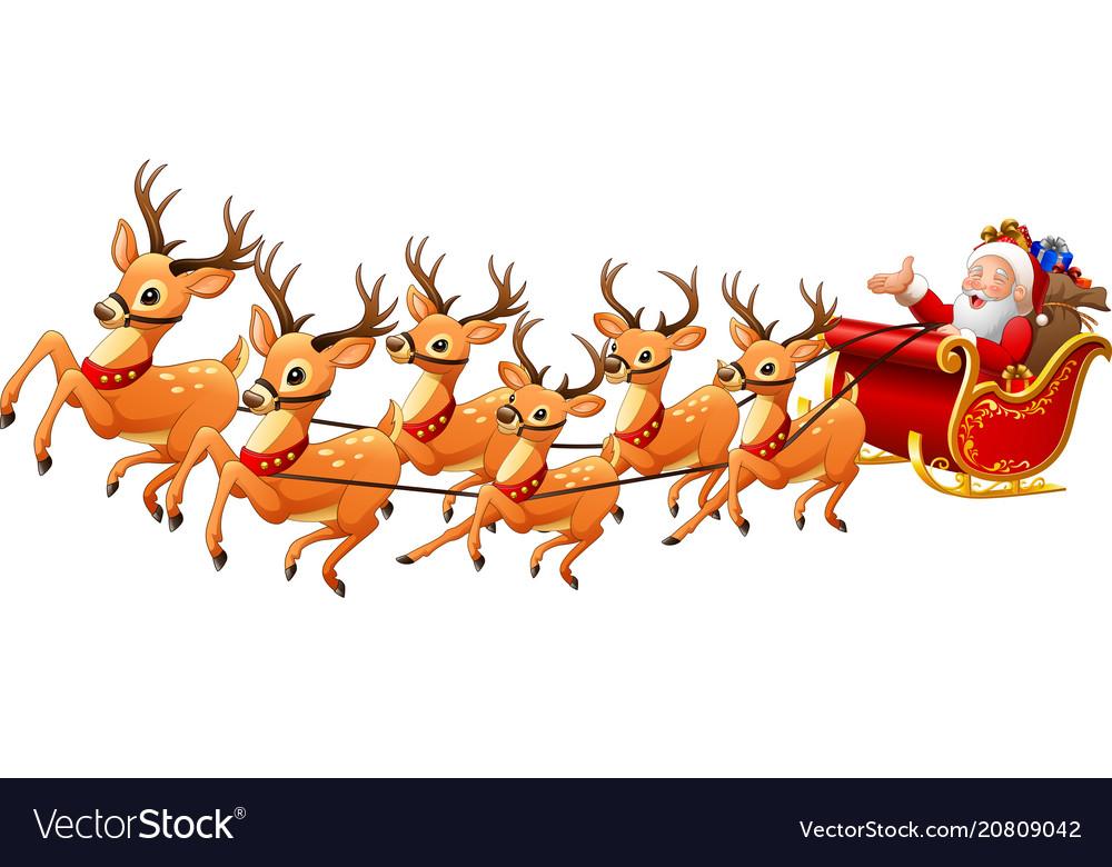 Christmas Reindeer.Santa Claus Rides Reindeer Sleigh On Christmas