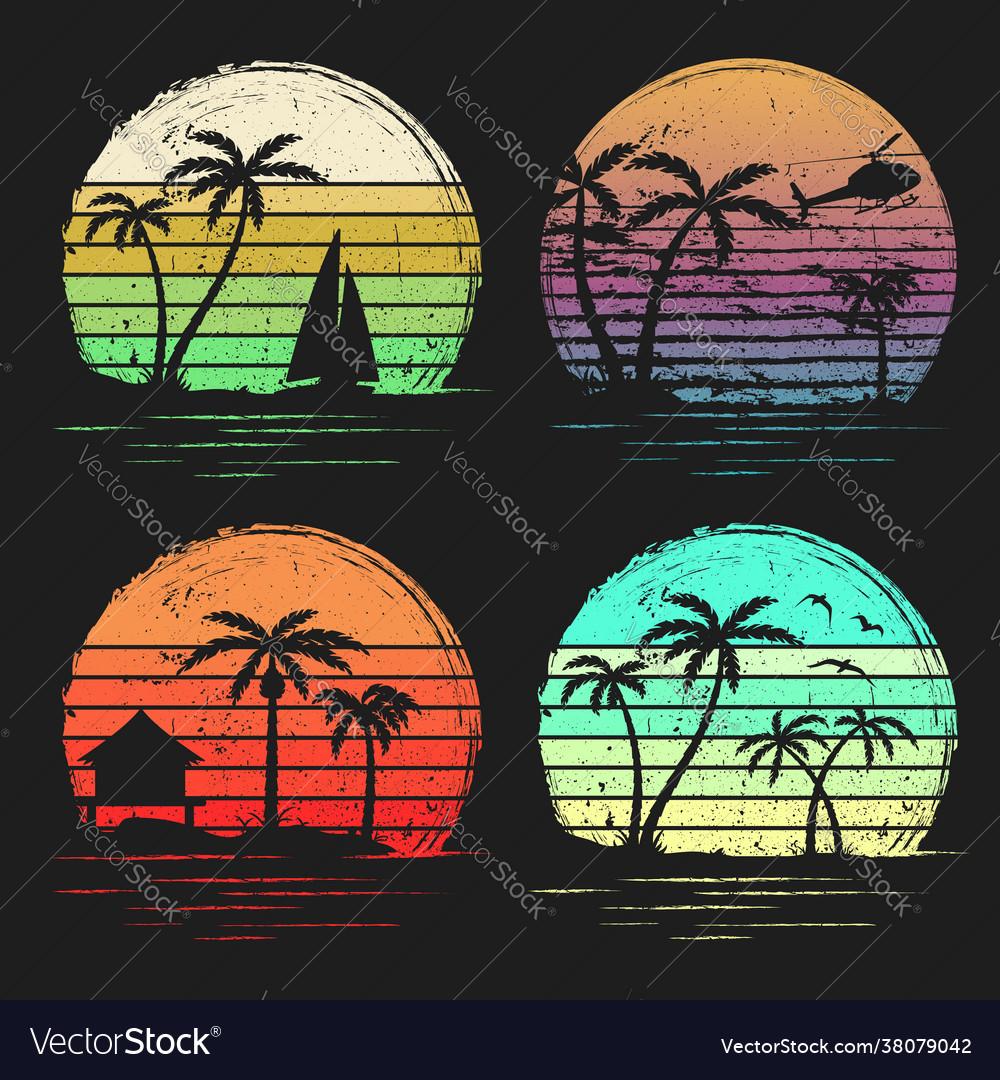 Set vintage retro sunsets with palms