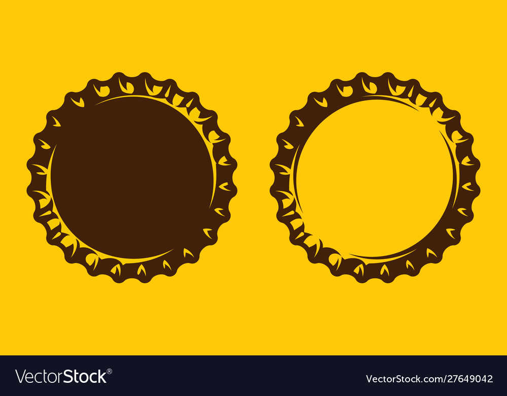 Set with stylized beer bottle cap