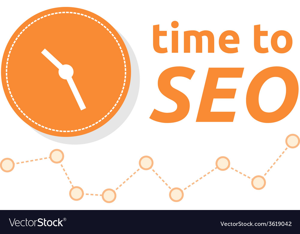 Time to seo word combined with clock and graph vector image ccuart Gallery
