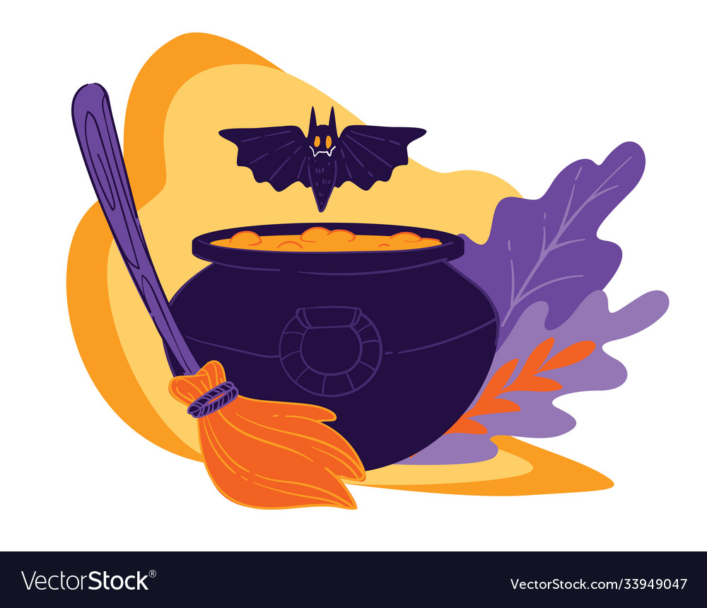 Cauldron with magical potion flying bat and broom