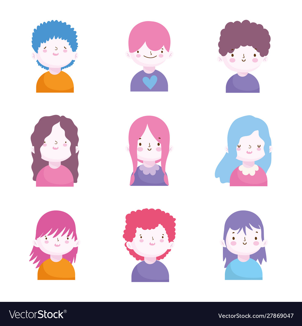 Cute little boys and girls characters portrait set