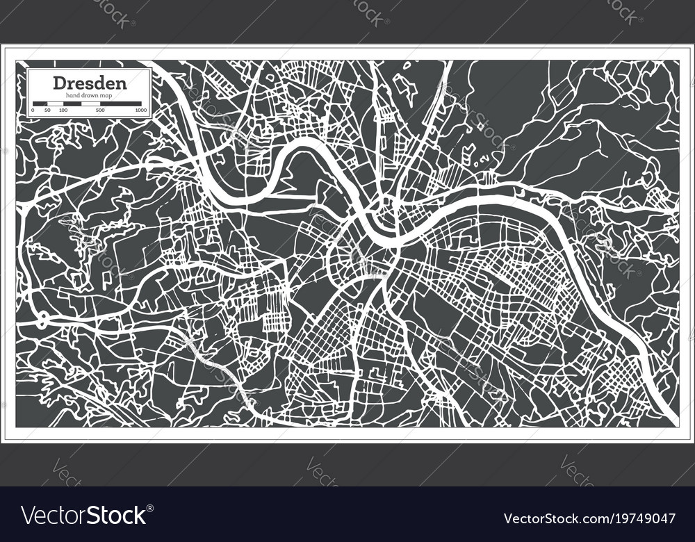 Dresden germany city map in retro style outline vector image