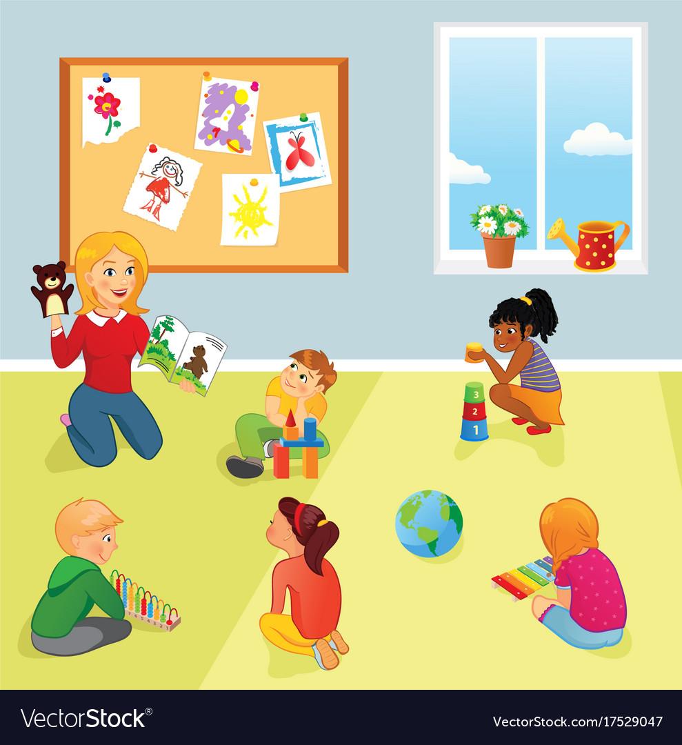 Elementary school class teacher and kids