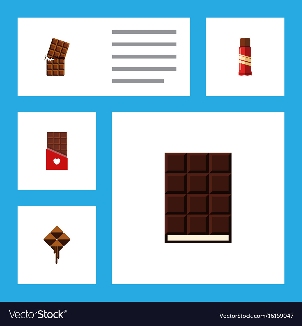 Flat icon chocolate set of wrapper dessert