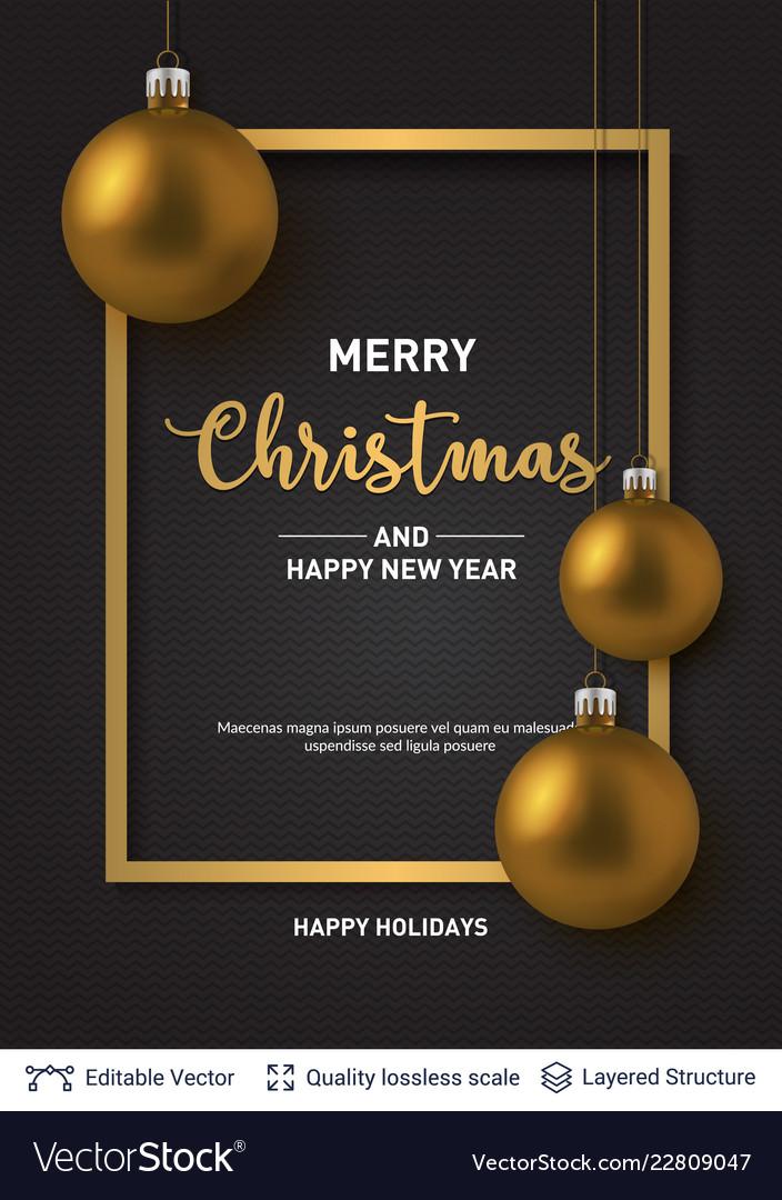 Golden shiny christmas balls on dark background