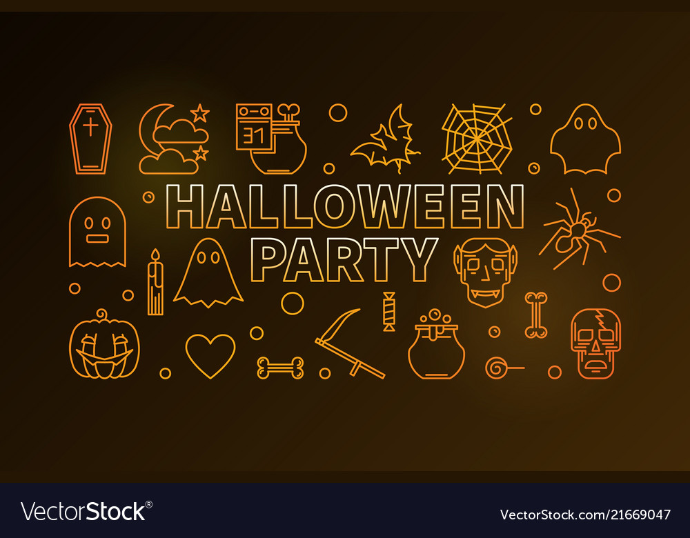 Halloween party line colorful horizontal