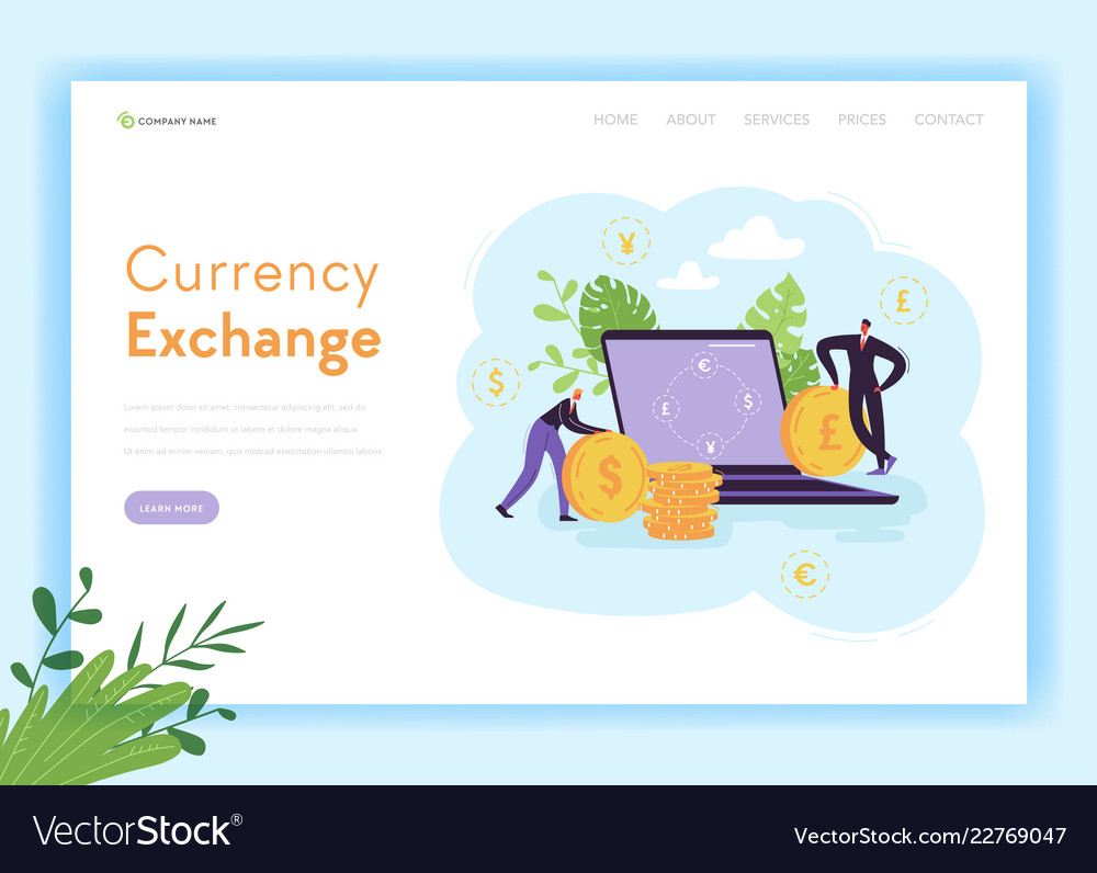 Mobile currency exchange landing page template