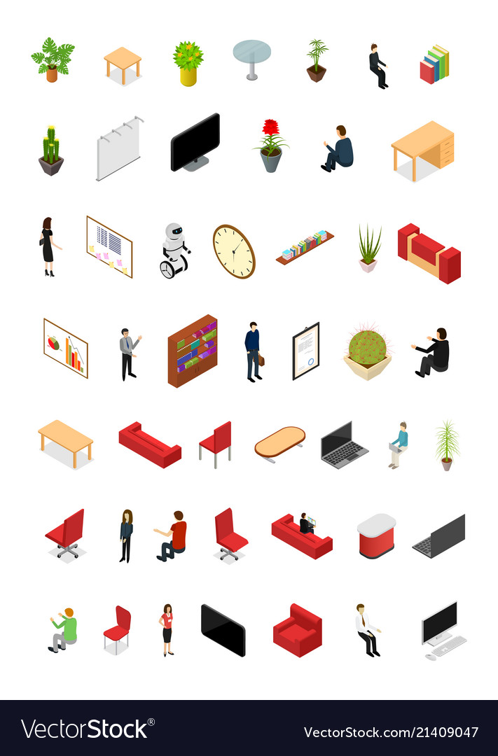 Office interior concept icons set 3d isometric