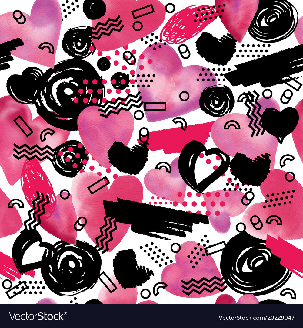Seamless pattern with watercolor heart in memphis