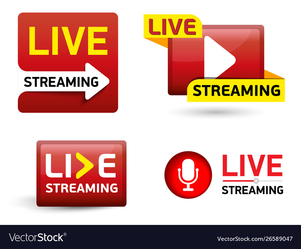 Set button - live stream concept red symbol