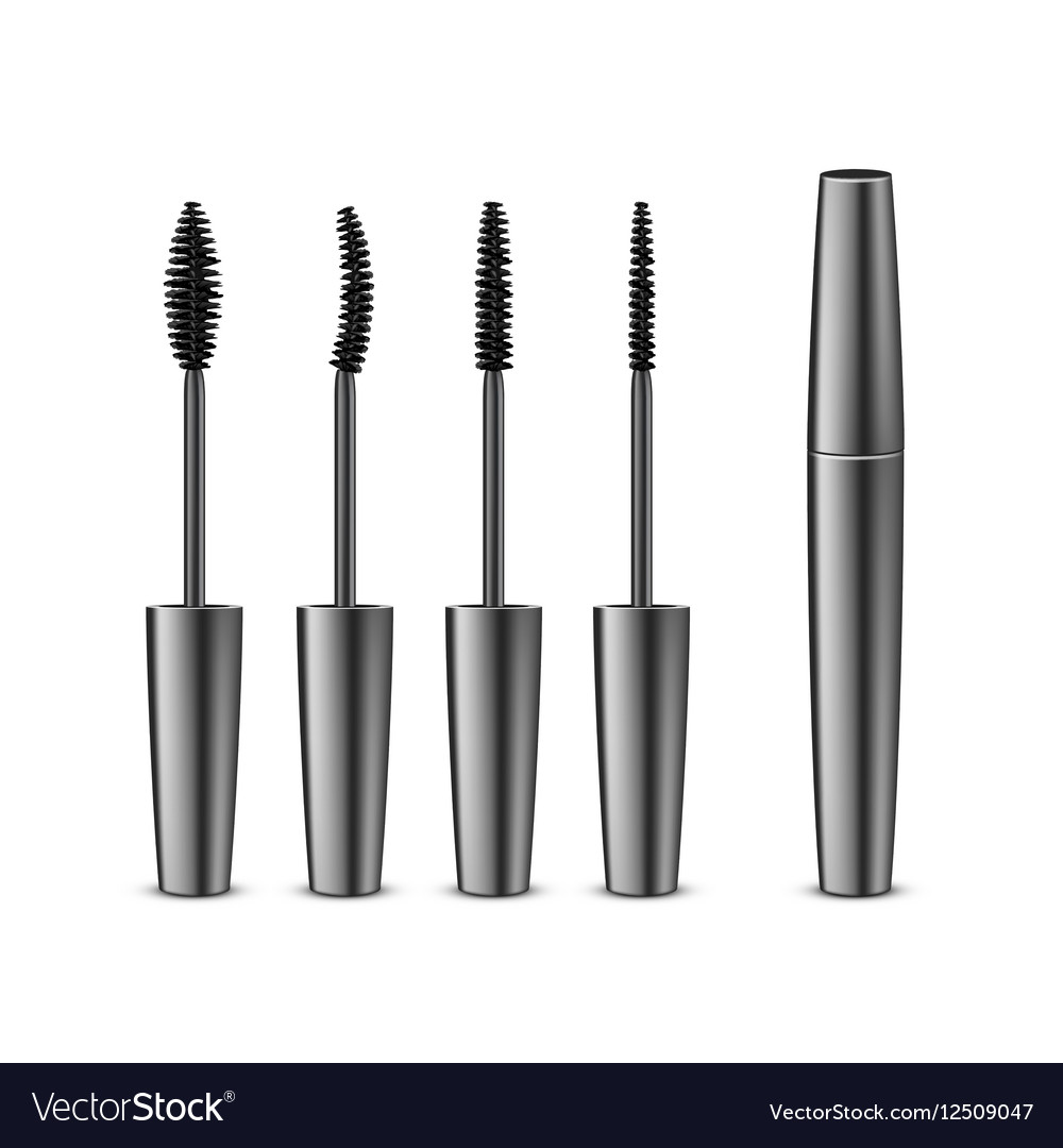 0cfcdf19cf2 Set of Opened Black Mascara in Tube with Brushes Vector Image