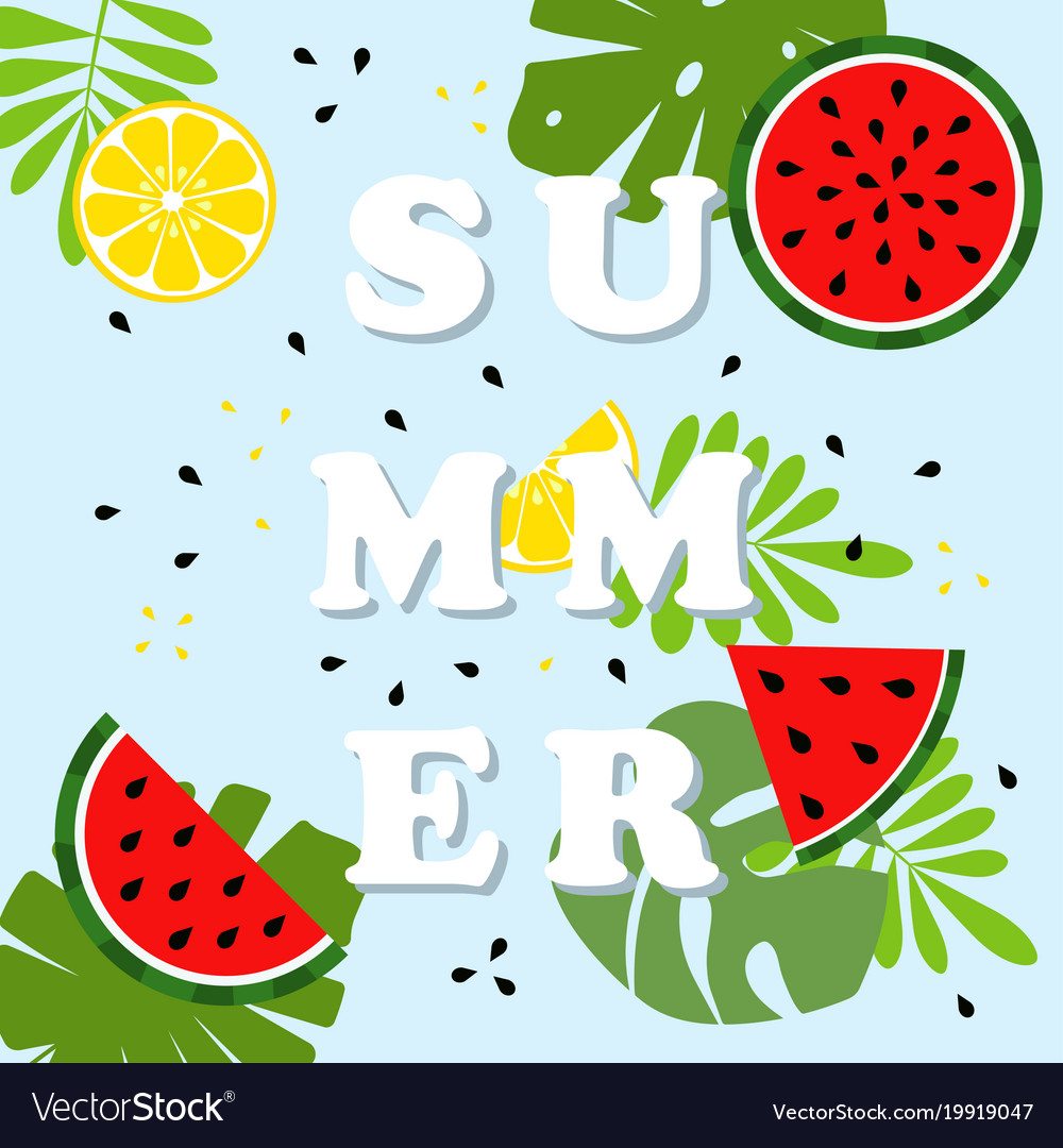 Summer card with fruits