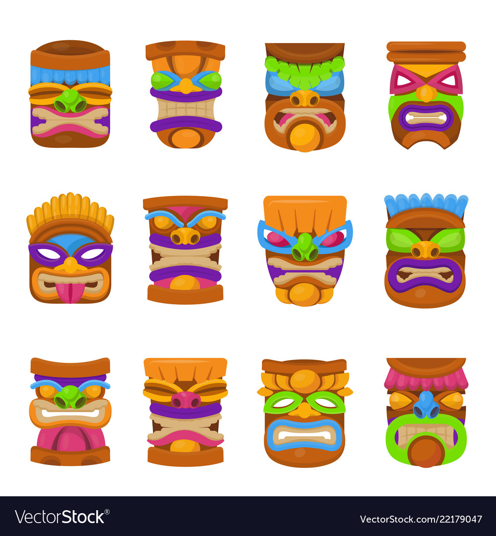 Tiki hawaii mask icon set on white background