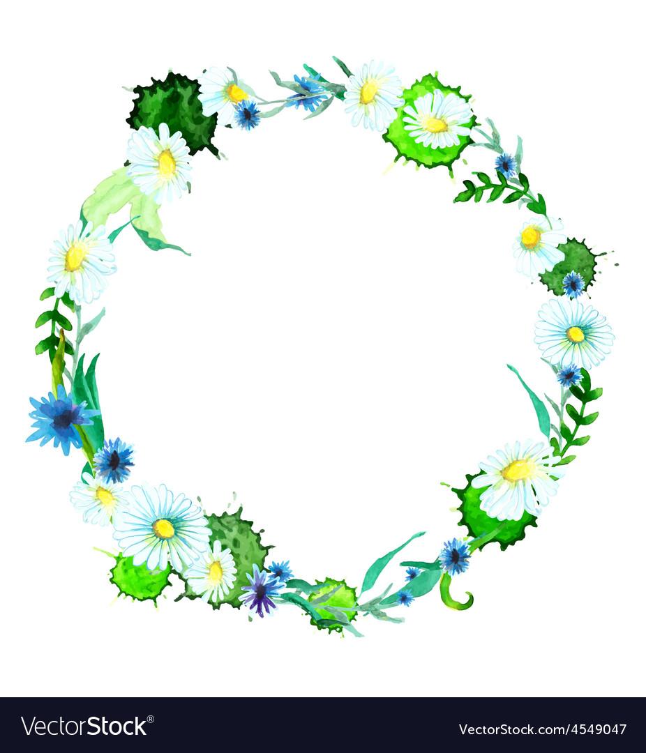 Watercolor flower wreath background