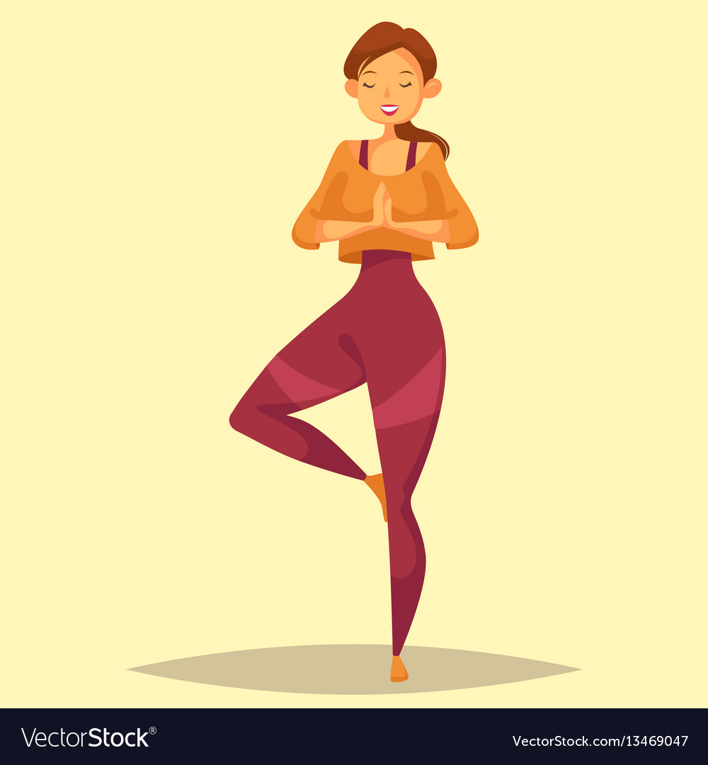Woman or lady girl or female doing yoga training