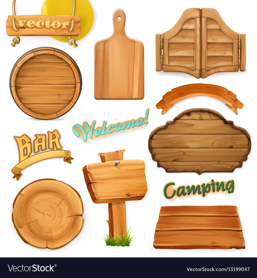 Wooden sign set Template for logo emblem 3d