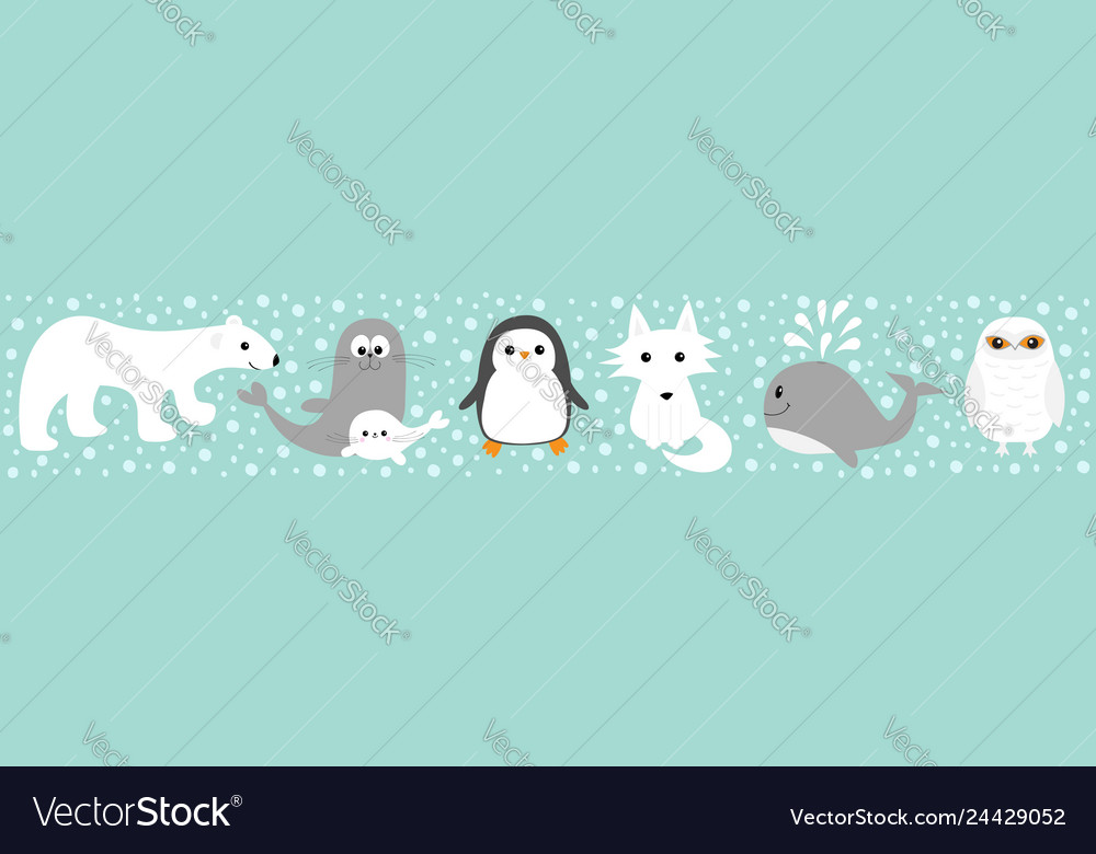 Arctic polar animal set line white bear owl