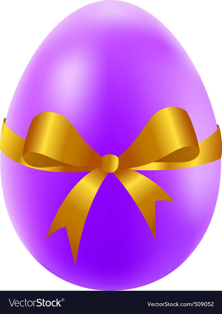 Easter egg with golden bow vector image