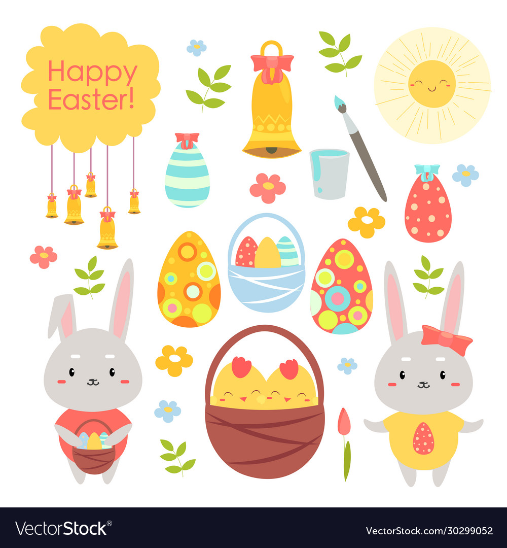 Easter holiday color cartoon flat