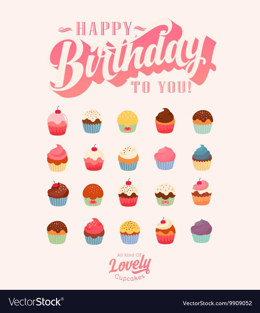 Happy Birthday Cute Cupcake Set