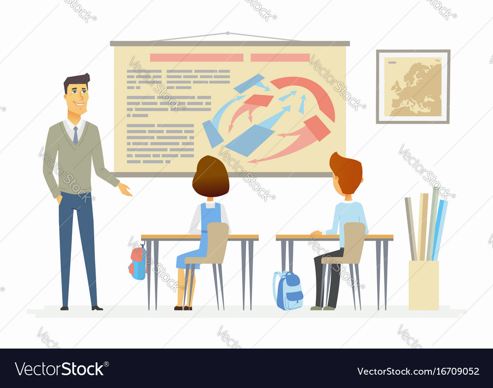 History lesson at school - modern cartoon people vector image