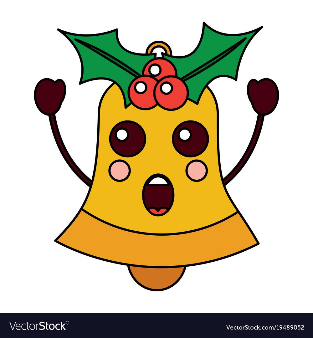 Kawaii christmas jingle bell cartoon Royalty Free Vector