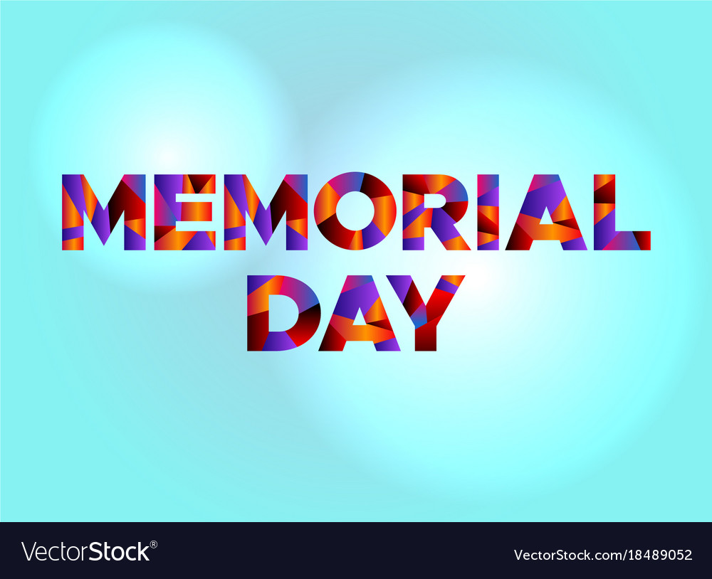 memorial day concept colorful word art royalty free vector
