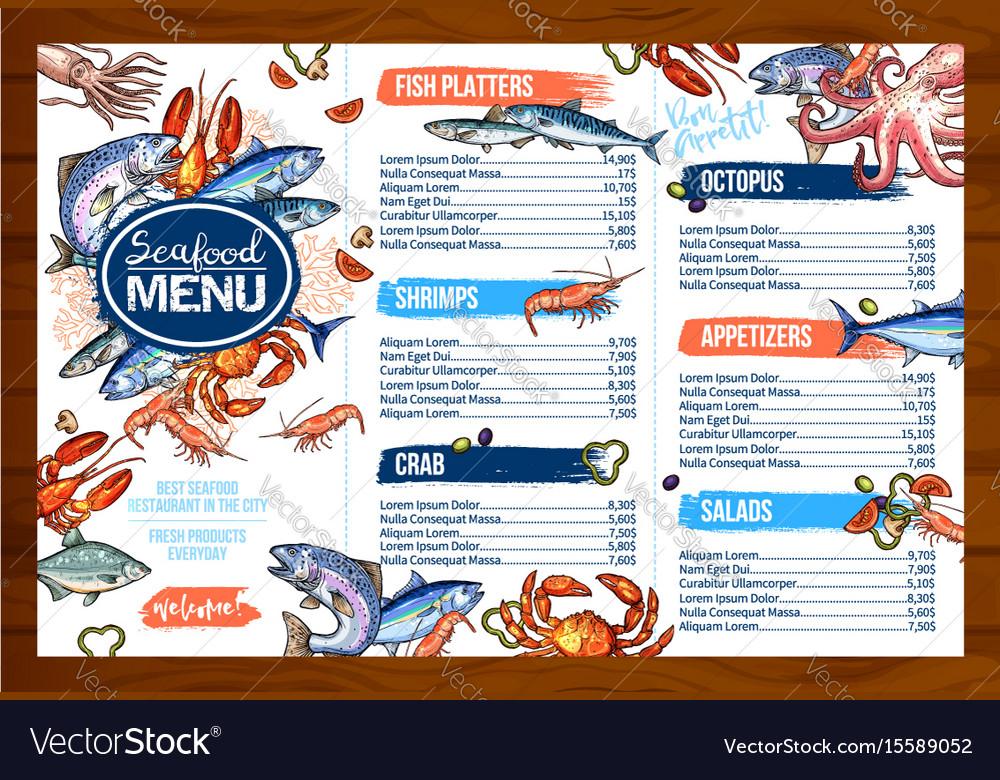 Menu For Seafood Or Fish Seafood Restaurant