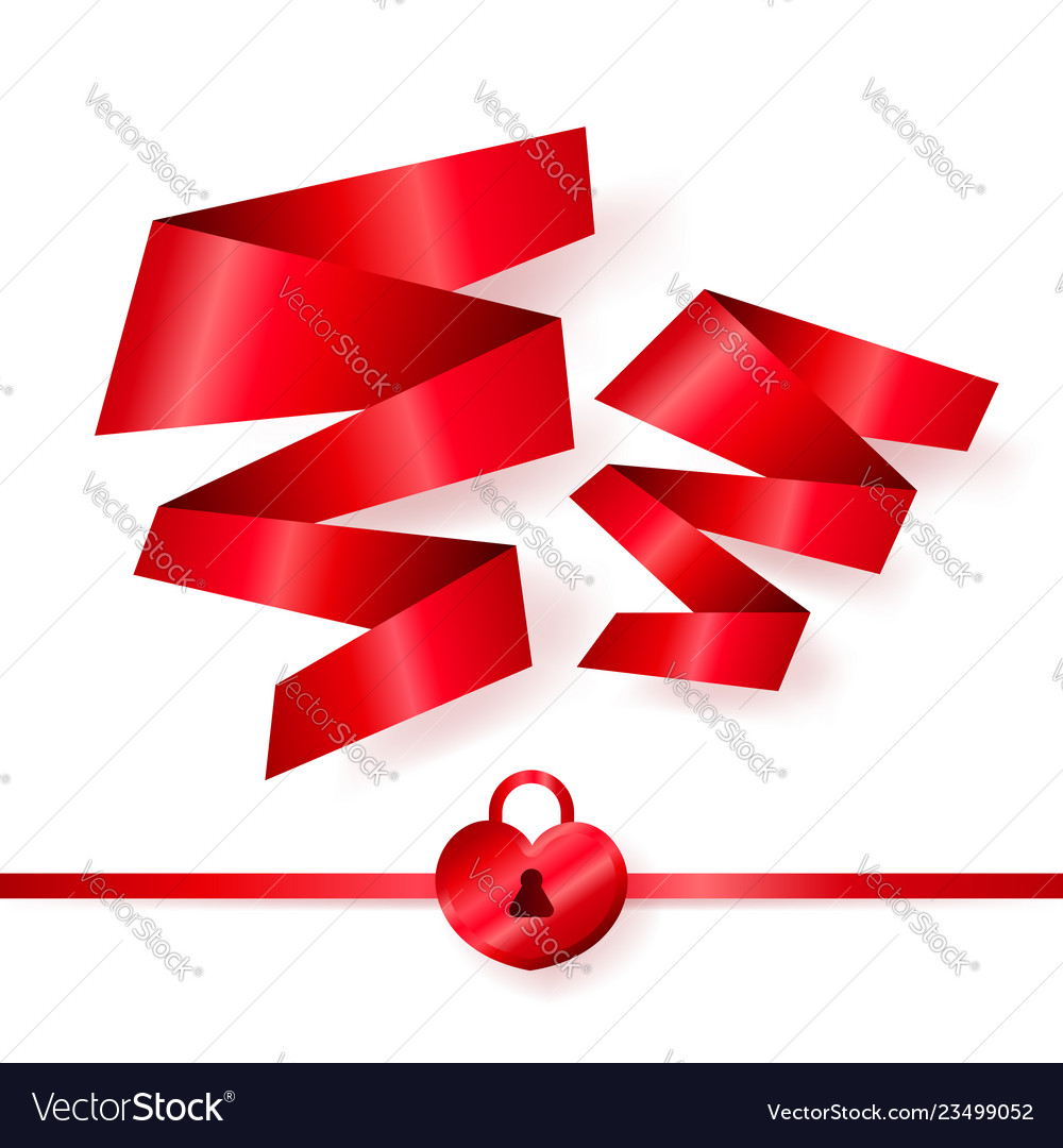 Red ribbons in shape of two hearts