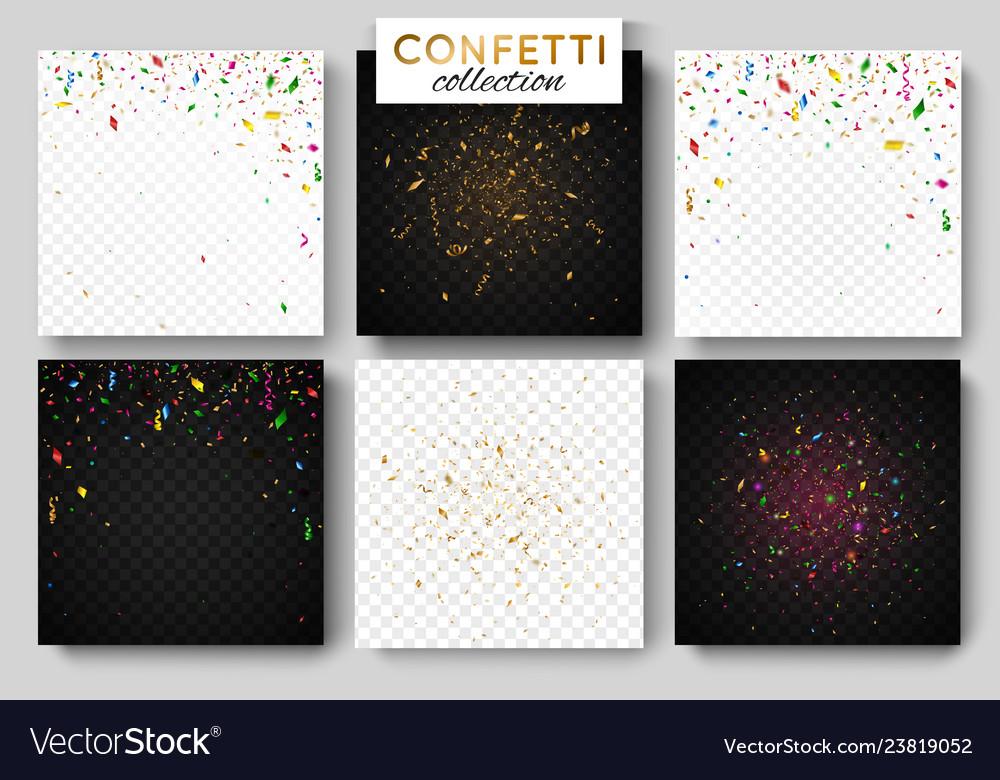 Set of six falling coloful confetti background