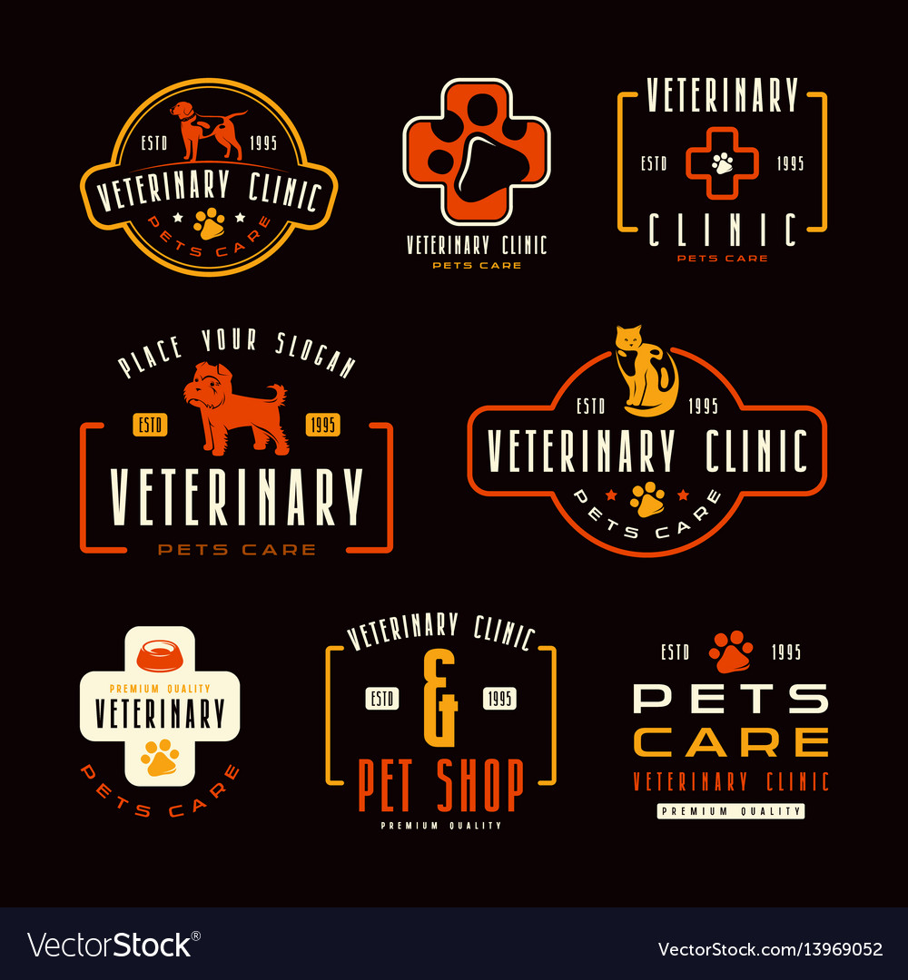 Set of veterinary clinic labels