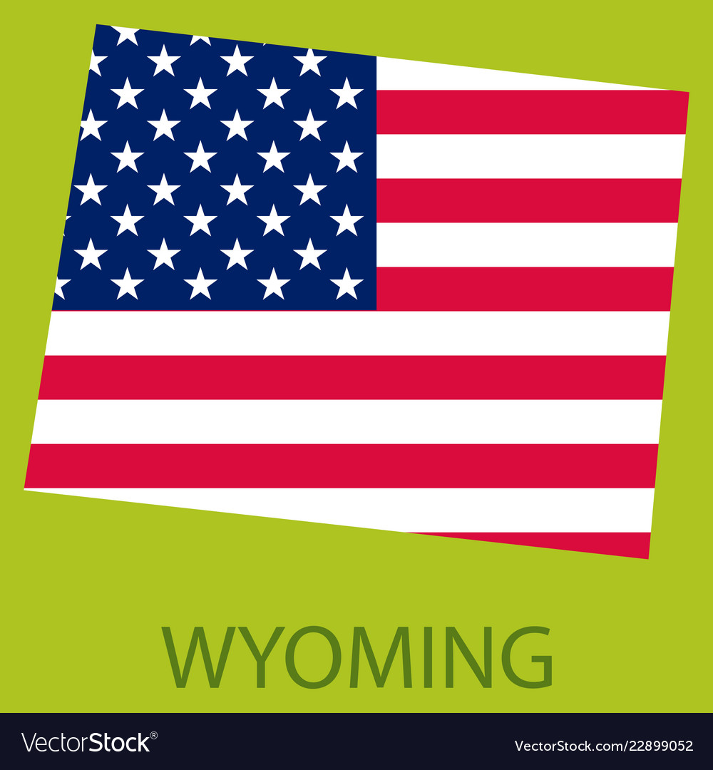 Wyoming state of america with map flag print on