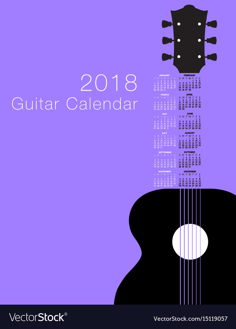 2018 guitar musical calendar