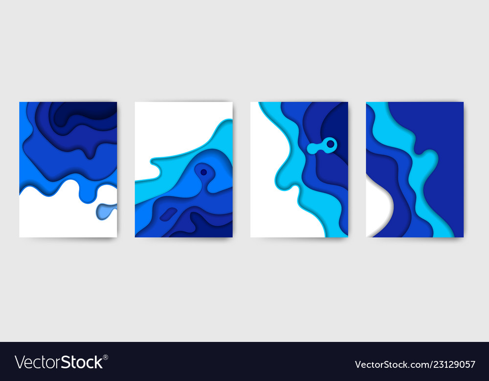 Abstract color paper art set