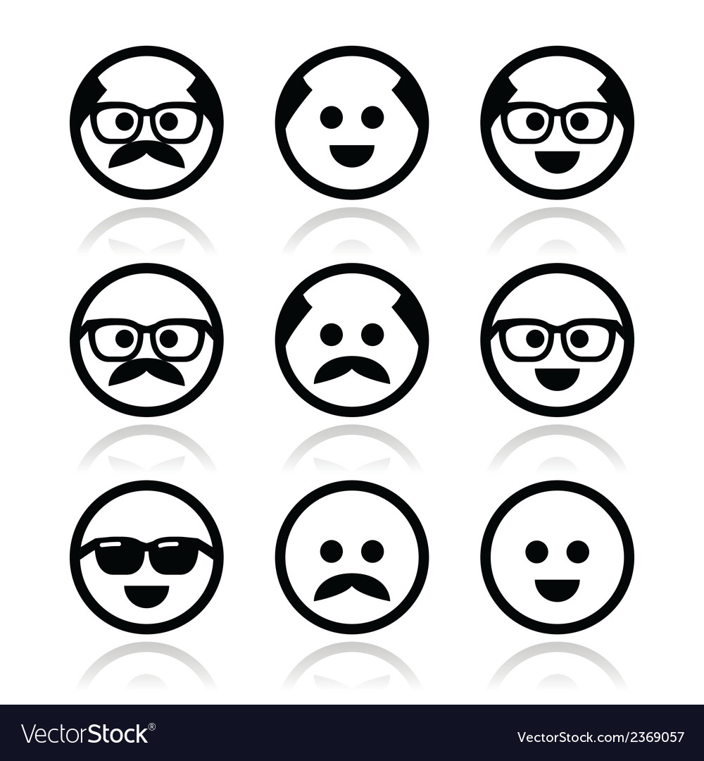 Bald man with mustache and in glasses faces icons