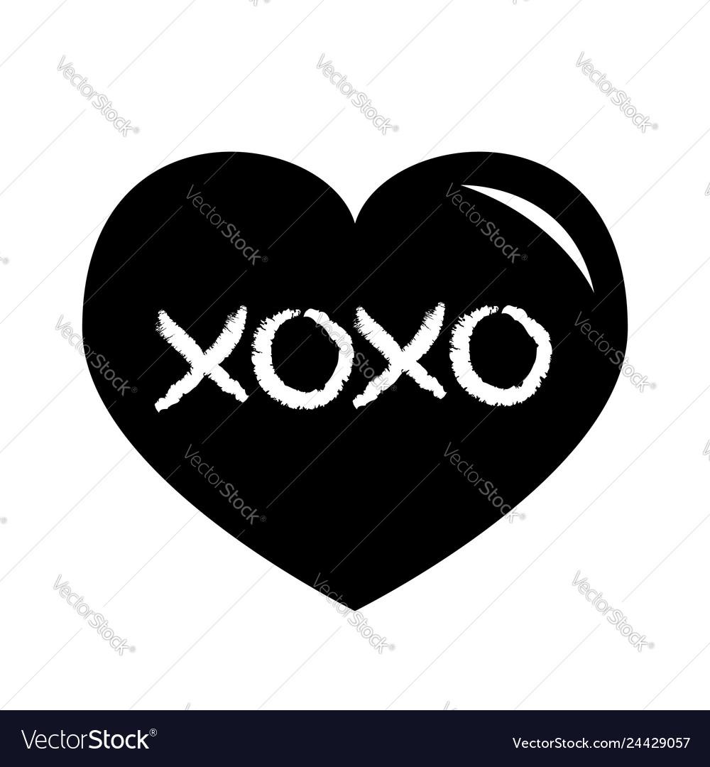 Black heart shining icon xoxo phrase sketch