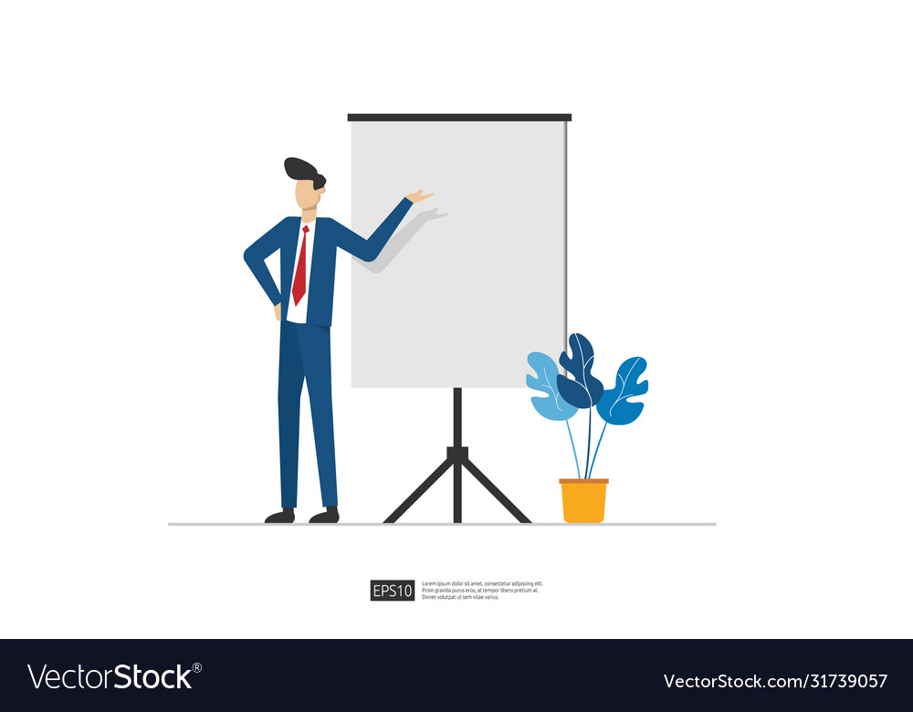 Businessman presenting marketing idea plan