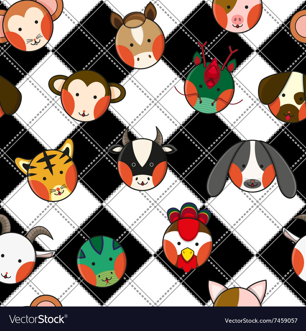 Chinese Zodiac Black White Chess Board vector image