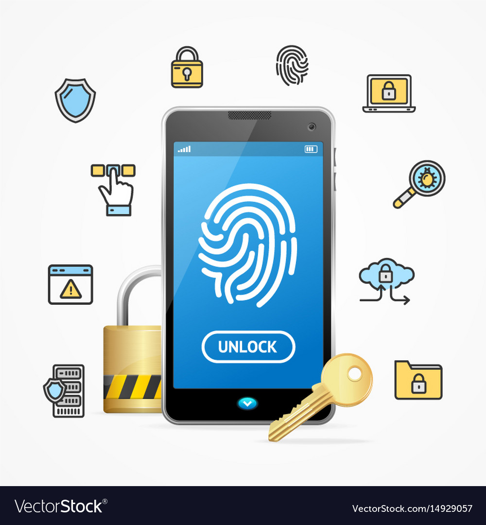 Data security and safe concept mobile phone app