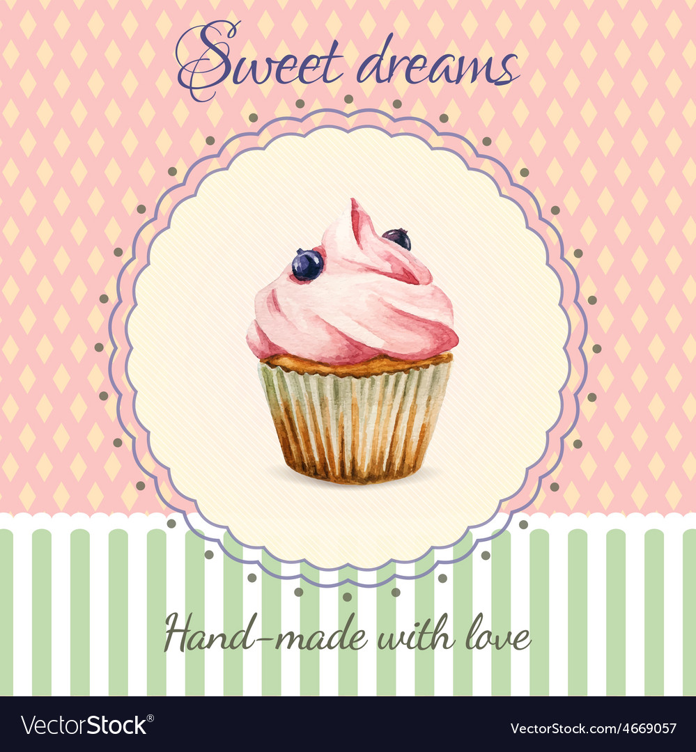 Hand-made desserts flyer template with watercolor