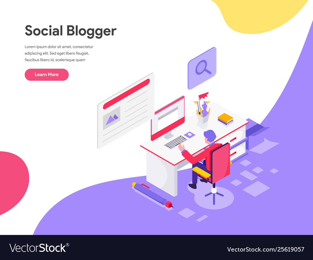 Landing page template blog writer concept