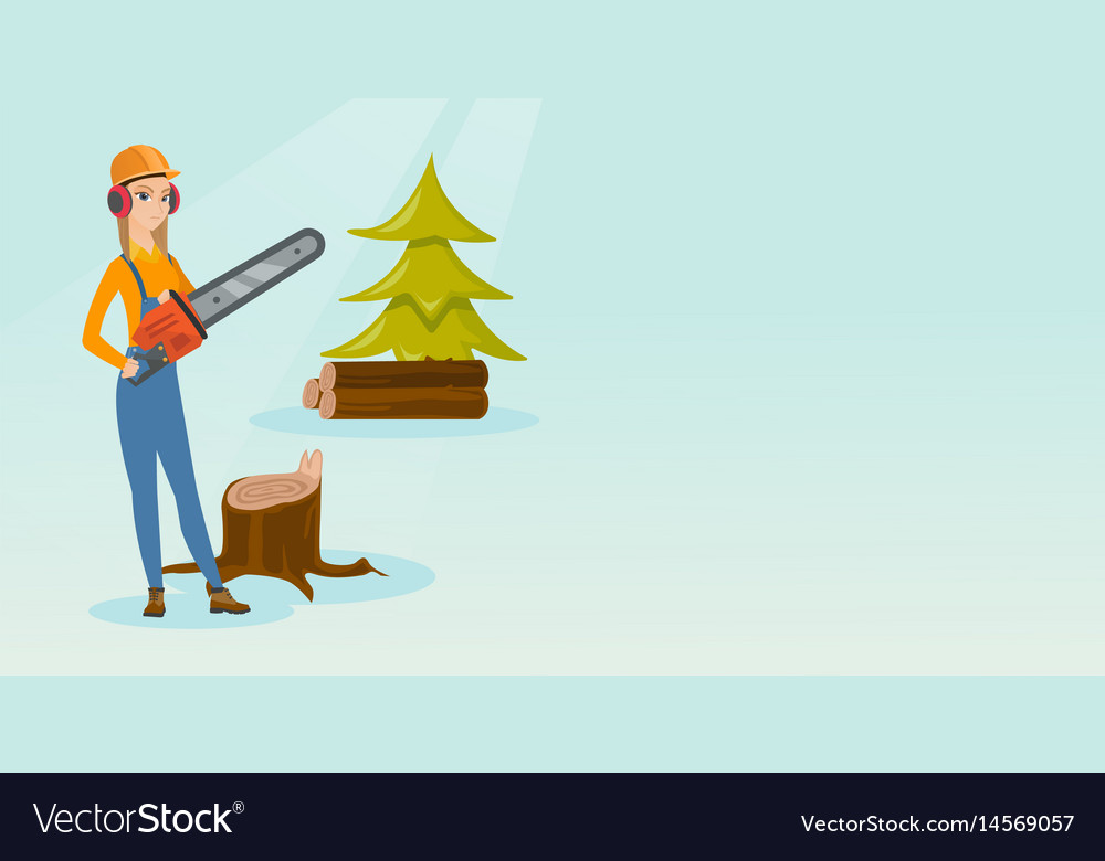 Lumberjack with chainsaw vector image