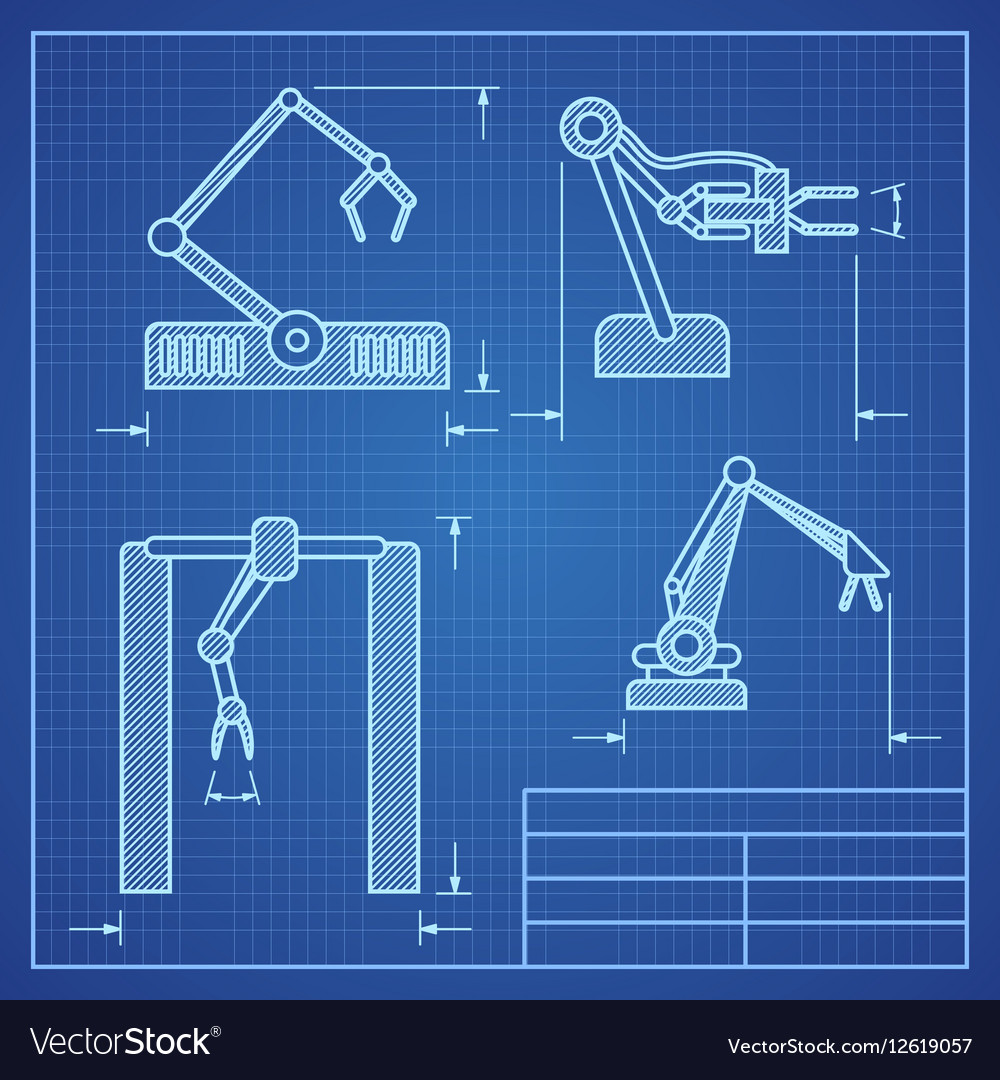 Robot arms blueprint machine industrial robotic vector image malvernweather Images