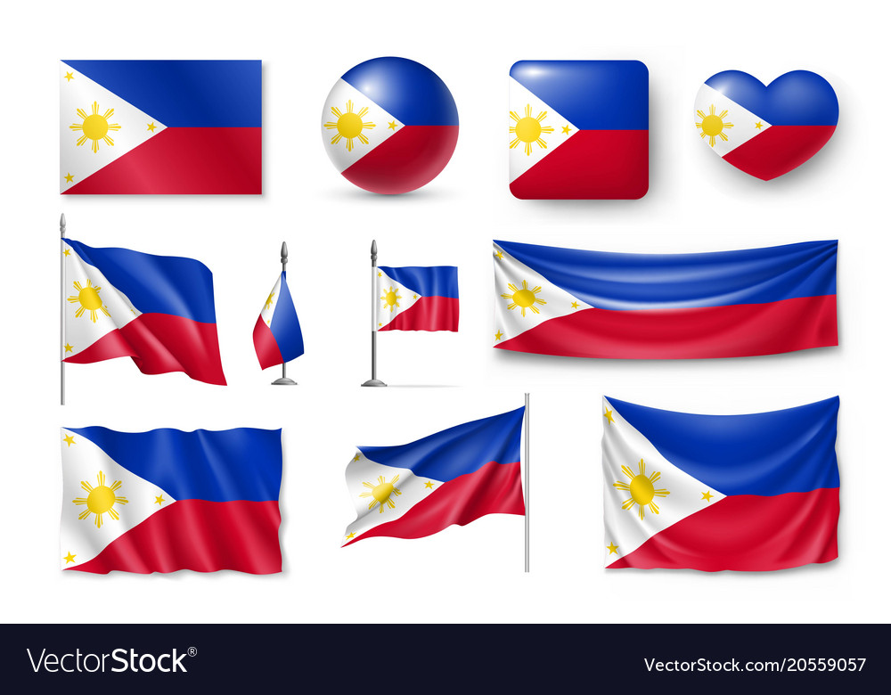 Set philippines flags banners banners symbols
