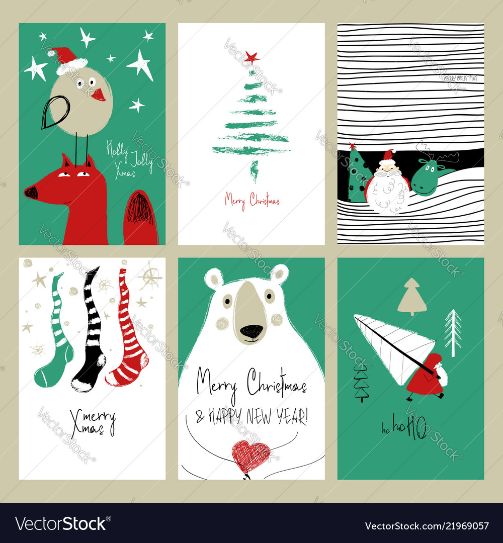 Set retro funny christmas cards
